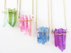 Summertime Boho Long Necklace // Raw Crystal Quartz// Bridesmaid Gift Wedding Jewelry