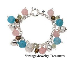 "QVC Vicenza Silver Sterling 7"" Multi Gemstone Charm Bracelet with Smart Clasp #VicenzaSilver"