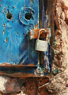 You see, it's like this...art is not all about landscapes, ladies in sumptuous gowns and bowls of fruit...it's also about rust and rotting wood, chipped paint and locked doors... :) Angus McEwan, Scottish Artist