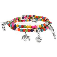$6.99 Bling Jewelry Multicolor Wood Beads Assorted Dangling Charms Stretch Bracelet