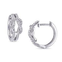 Zales 1/6 CT. T.w. Diamond Knot Hoop Earrings in Sterling Silver gC0JNl