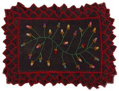 LOT 530 Seller's Estimate: USD 0 - 0 AMERICAN FOLK ART RUG / TABLE MAT, wool and cotton, rectangular form with embroidered vine sprouting multicolor acorns, within an overlapping petal border with emb