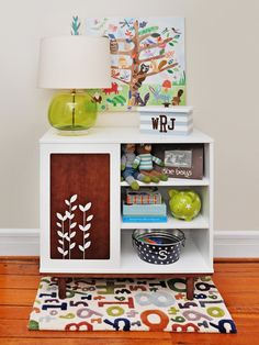 Cute storage for a little boys room. I think I could turn Landon's old changing table into something like this