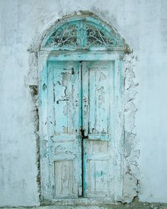 weathered aqua turquoise old doors