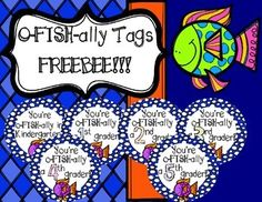 I have a great FREEBEE for back to school! These tags are great for back to school night or the first day of school. Add to your favorite treat or gift for your students to complete the package! You're O-FISH-ally in: Grade First Day Of School Activities, Kindergarten First Day, Back To School Activities, School Treats, School Gifts, Student Gifts, School Stuff, First Grade Classroom, Kindergarten Classroom