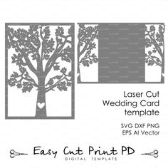 "Bride & Groom Tree Bird wedding card COVER love story Invitation 5x7"" ( svg, dxf, ai, eps, png) laser Stencils diecut paper Digital Download"