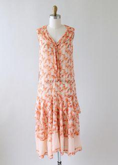 Vintage 1920s Gauzy Deco Print Cotton Day Dress