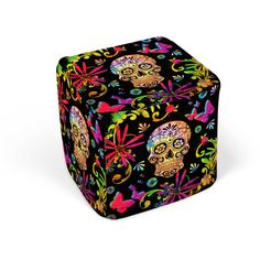 Sugar Skull Pouf Ottoman Cube Footstool Day of the Dead ($79) ❤ liked on Polyvore featuring home, furniture, ottomans, chairs & ottomans, dark olive, home & living, living room furniture, cube furniture, skull furniture and cube ottoman