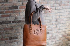 Monogrammed bag - monogrammed tote- brown leather like personalized bag