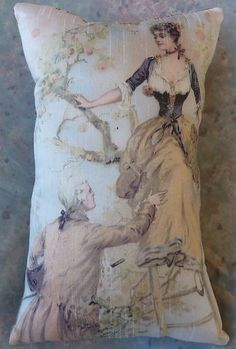 ROMANTIC COUPLE IN AN ORCHARD PILLOW PRINT FROM A VINTAGE PRINT $15