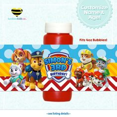 Paw Patrol Bubble Labels - Paw Patrol Party Favors - Style for Boys or Girls