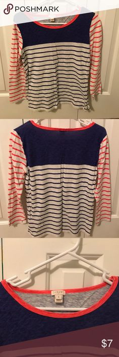J. Crew size small 3/4 sleeve shirt. Purple and bright orange stripe. Has a washed look but has only been worn a handful of times. No stains, tears, or picks. Smoke free, pet free home. J. Crew Tops Tees - Long Sleeve