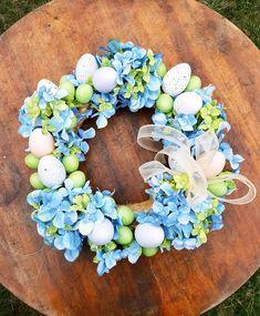 #splotjanki#wielkanoc#piękny#nastół#nadrzwi#wianki#jajko#kwiaty#hortensje#niebieskie