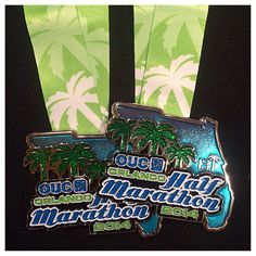 It's race weekend for the OUC Orlando Half Marathon, and here is the medal that finishers receive when they cross the line.  Check out that bling!  #orlandohalf #runorlando