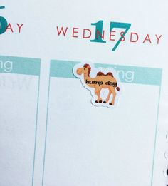 One sheet of 20 camel/hump day stickers. Super adorable, fun addition to your planner!  The stickers measures approx .6 x .7 They are printed