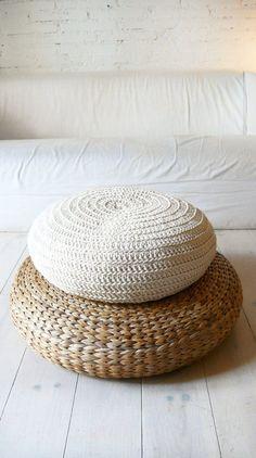 Floor Cushion Crochet ecru by lacasadecoto on Etsy Crochet Floor Cushion, Floor Cushions, Floor Pouf, Knitted Pouffe, Crochet Pouf, Crochet Pillow, Modern Retro, Layout Design, Home Accessories