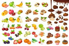 Colorful sweet and organic food set with fruits berries vegetables cakes nuts muffins chocolate bars flows isolated vector illustr