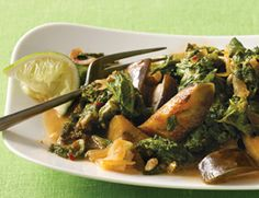 Thai Red Curry Eggplant and Mustard Greens - Curry pastes vary widely in pungency and spice, so you may have to add more or less to this recipe according to the type you use. Both Asian mustard greens (which are pale and have a strong, spicy flavor) and leafy mustard greens will work in the recipe, or you can substitute Swiss chard or watercress.