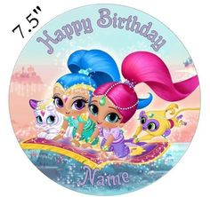 Personalised Shimmer and Shine Edible Icing Topper Precut Round Square Rectangle