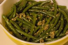 Candied Walnuts over Green Beans