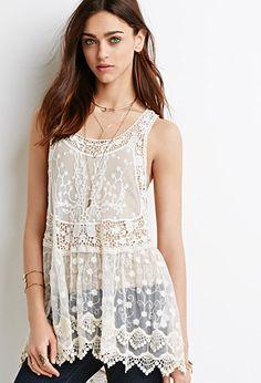 Embroidered-Mesh Crochet Dress   Forever 21 - 2000097605