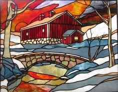 Covered bridge winter scene