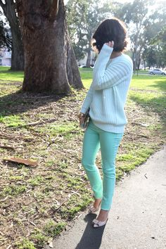 mint jeans + sweater + nude heels