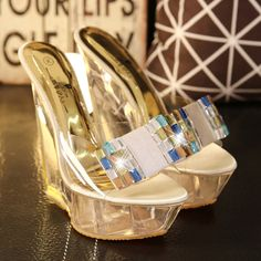 51.55$  Buy here - Crystal Wedges Slippers Female Summer 2017 Heavy-bottomed Non-slip Platform Super High Heel Sexy Sandals Beige Pink  #shopstyle