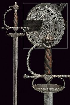 Mid century: Dutch: Cup-hilted sword (presumably the blade is too broad to be a rapier? Swords And Daggers, Knives And Swords, Small Sword, Powder Horn, Sword Design, Concept Weapons, Arm Armor, Fantasy Weapons, Medieval Fantasy