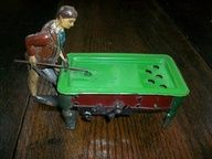 1912 German Penny Toy Tin Pool Billiard Player Wind Up Antique
