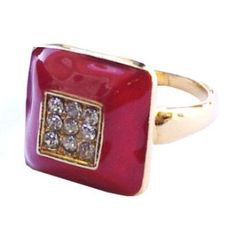 Golden ring with red square crystal  http://enewmall.com/women-rings/