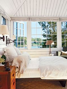 Love the ceiling in this beach inspired bedroom