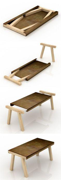 """mastro""是一个小型家具,它的灵感来自于传统工匠工作室中的旧工作台或凳子。桌面是用酸蚀铁板材料制作的,两侧各有一个槽,内部可以放两个杉木支架,节省空间便于储存。这两个木桌腿很容易抽出,简单的插接在铁皮桌面上即可使用。尺寸:80 x 160 x 75 cm。设计者:gum d..."