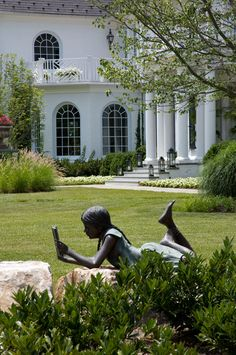 """***Garden Reading***  (We have this identical, life-size statue in our backyard who we've nicknamed """"Emily.""""  She's a true inspiration!! ~ we love her!)  ☆"""