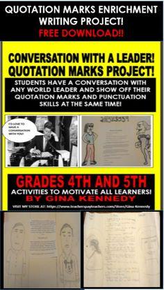 Freebie!  Quotation Marks Enrichment Project!