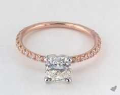 41276 engagement rings, pave, 14k white gold thin french cut pave set diamond engagement ring item - Mobile