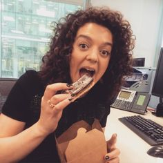 Spotted in Canary Wharf: Justine I'm such a vegan Dawson  indulging in a non vegan food item . #outrageous #vegan #veganpolice #parttimevegan #singlevegan #girlabouttown #BFAW #howtobelikeme #Wanky @justine_dawson by amb_mcc