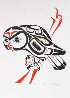 Haida art - Owl - Glen Rabena - Birth Totem- Owl- November 23rd- December 21st. This wise winged brother came to mentor you from the day you were born and will council you until your journey on earth.