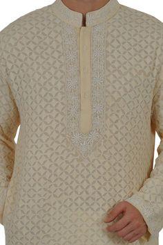 Champagne Hand Embroidered Chikankari Pure Georgette Kurta