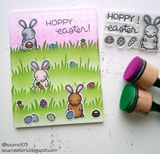 Lawn Fawn - Hoppy Easter, Grassy Borders _ card by Sou featured on Fawny Flickr Friday