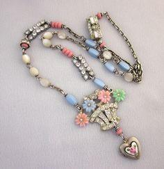 Assemblage Rhinestone Flower Basket Necklace, OOAK Handmade Necklace, Pink, Blue, White, Silver Heart Locket Repurposed Jewelry
