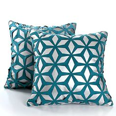 Decorative Square Pillow Case Cushion Covers 18x18 Set of 2 Geometric Pattern *** You can get additional details at the image link.