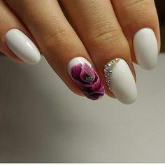 April nails, Delicate spring nails, flower nail art, Nails in white, Short white nails, Spring nail art, Spring nail ideas, White nail art