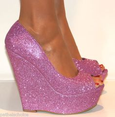 a39eef4bf88c LADIES PINK PURPLE SPARKLY GLITTERY PEEP TOE PLATFORM WEDGE HIGH HEELS  Sparkly High Heels