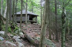 Hexacuba Shelter sits on the AT as it heads down the south side of Mt. Cube in New Hampshire...