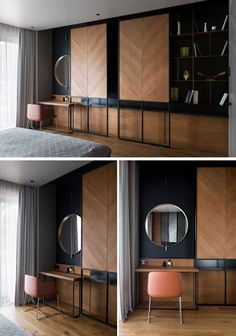 This modern bedroom has a custom shelving unit with sliding wood panels that can be opened to reveal the television, or closed to highlight the open shelving and vanity on either side. Custom Shelving, Open Shelving, Shelving Units, Bedroom Orange, Style Deco, Apartment Interior, Apartment Design, Apartment Ideas, Minimalist Bedroom