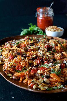 Eggplant Parmesan Pasta { Gluten Free } - The Noshery    #glutenfree #eggplant #vegetarian #healthy