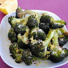 The Best Broccoli EVER (Parmesan-Lemon Roasted Broccoli) – Roasted Broccoli with Parmesan cheese, lemon juice & zest, olive oil & red pepper flakes.