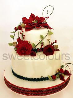 """SweetColours, tartas decoradas: Tarta """"Flores Rojas de Navidad"""""""