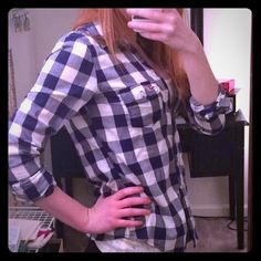 Blue and white plaid button down Blue and white plaid button down from hollister. It's a little big on me but it's soft. Hollister Tops Button Down Shirts